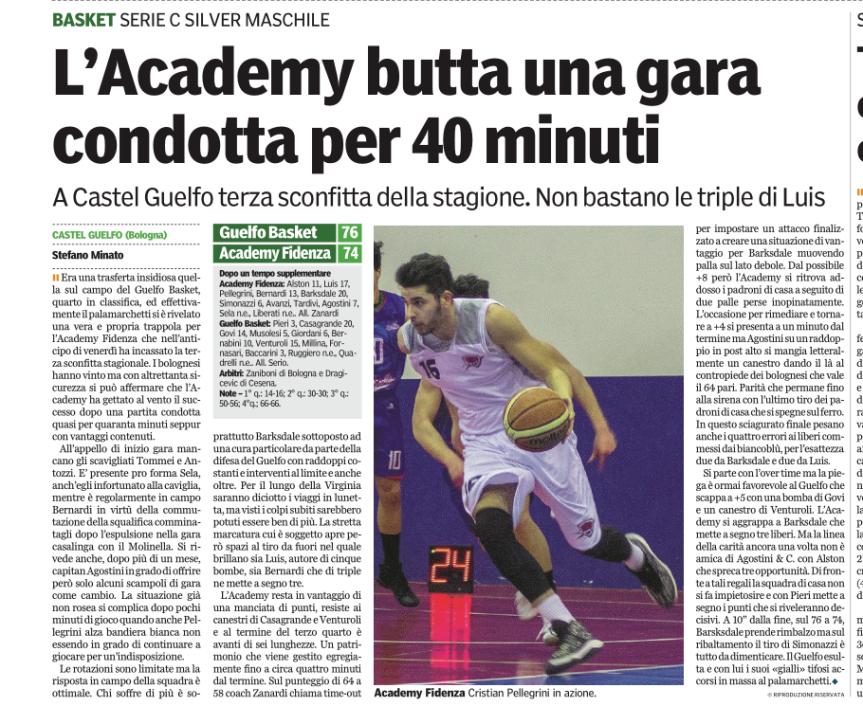 Guelfo Basket 76 Academy Fidenza74